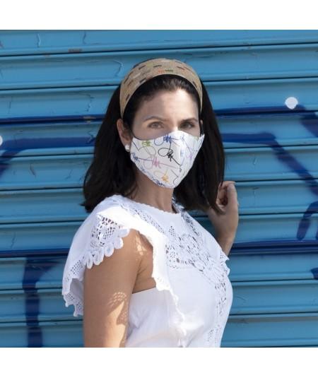 Painted straw headband & Signature mask by Jennifer Ouellette