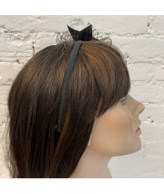 Black Side Veil Bow Grosgrain Headband