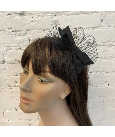 Black Side Veil Bow Grosgrain Headband