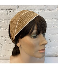 Wheat Toyo with Peach Grosgrain Turban Headpiece