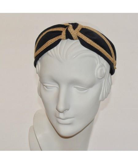 Black Linen with Wheat Straw Turban Headband by Jennifer Ouellette