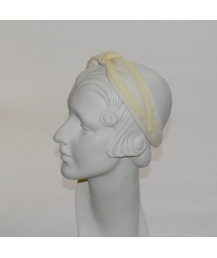 Ivory Linen with Natural Straw Turban Headband by Jennifer Ouellette