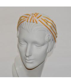 White with Gold Grosgrain Stripe Bernadette Headband