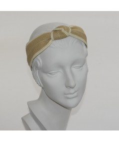 Wheat with Lavender - Camel with Raspberry Two-Toned Toyo Straw Center Turban Headband