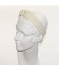 Natural Linen with Straw Side Turban Headband