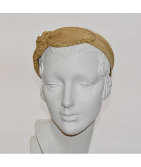 Wheat Linen with Straw Side Turban Headband
