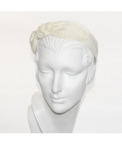 NNatural Linen with Straw Side Turban Headband