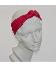 Red Straw Center Wide Turban Headband