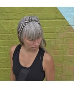 Black & Natural Raffia Harlow Turban
