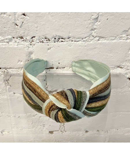 Straw Stripe Center Turban Headband