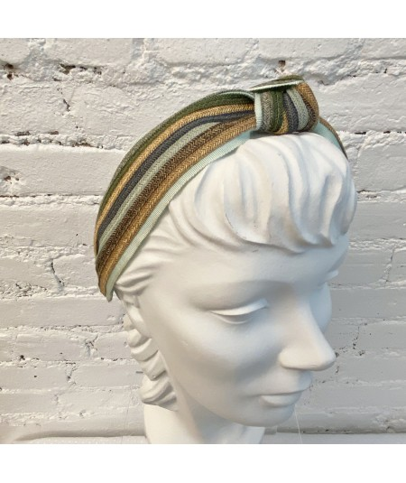 Straw Stripe Center Turban Headband