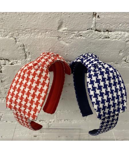 Red - Royal Cotton Check Bow Headband