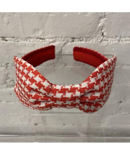 Red Cotton Check Bow Headband