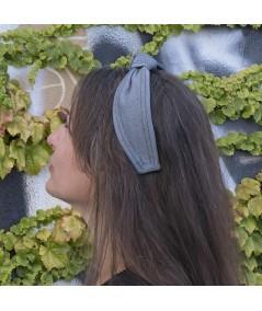 Reverse Indigo Denim Center Knot Turban with Double Contrast Stitch Headband