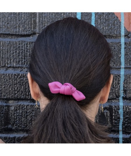 Fuchsia Leather Small Knot Ponytail Holder
