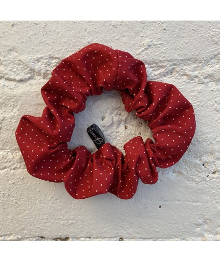 Red Dotted Cotton Print Scrunchie