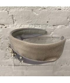 Grey Satin with Light Gold Metallic Tule and Sparkle Detail Princess Headband