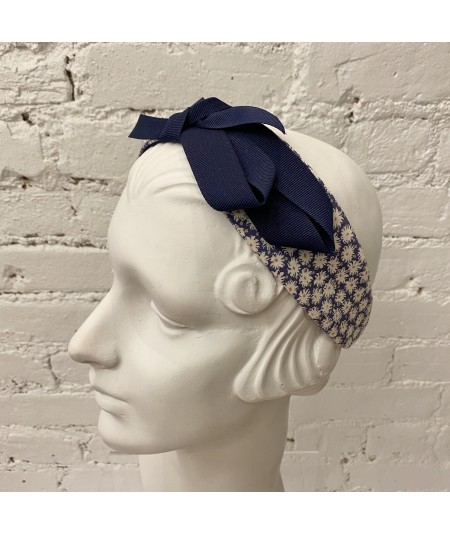 Floral Cotton Print Headband with Grosgrain Bow