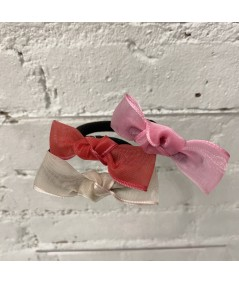 Nude - Red - Pink Organza Knot Ponytail Holder