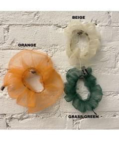Orange BIG TULLE SCRUNCHIE - Beige - Green Grass Tulle Color Option