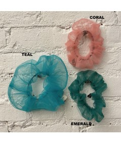 Teal BIG TULLE SCRUNCHIE - Coral - Emerald Tulle Color Option