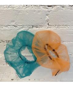 Teal Orange Big Scrunchie