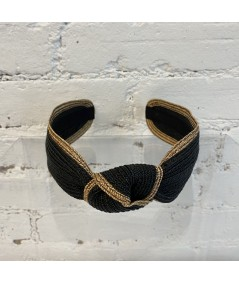 Black with Wheat Straw Turban Headband