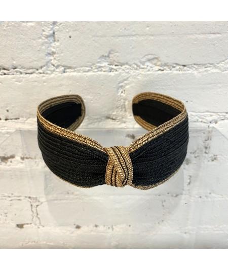 Black with Wheat Straw Two Tone Center Divot Headband