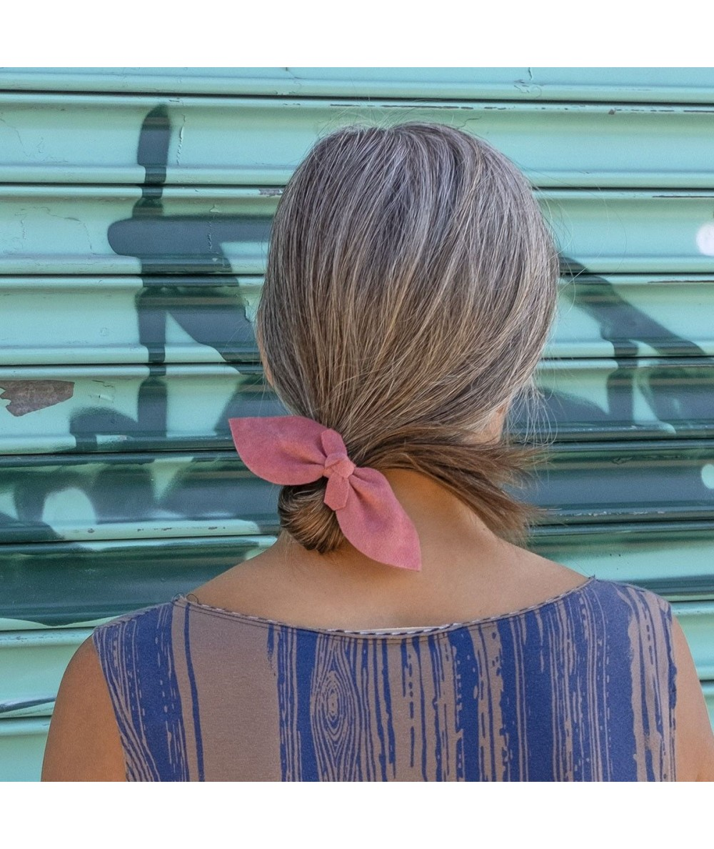 Coral Suede Bow Ponytail Holder by Jennifer Ouellette