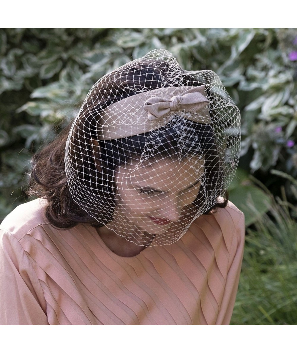 Pecan Ivory Face Veil with Bengaline Bow