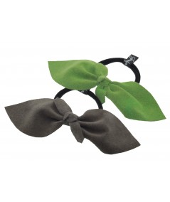 Charcoal - Kely Suede Bow Ponytail Holder by Jennifer Ouellette