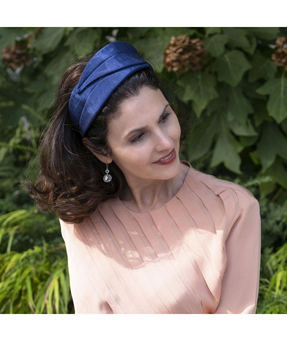 Navy Bengaline Double Leaves Headband
