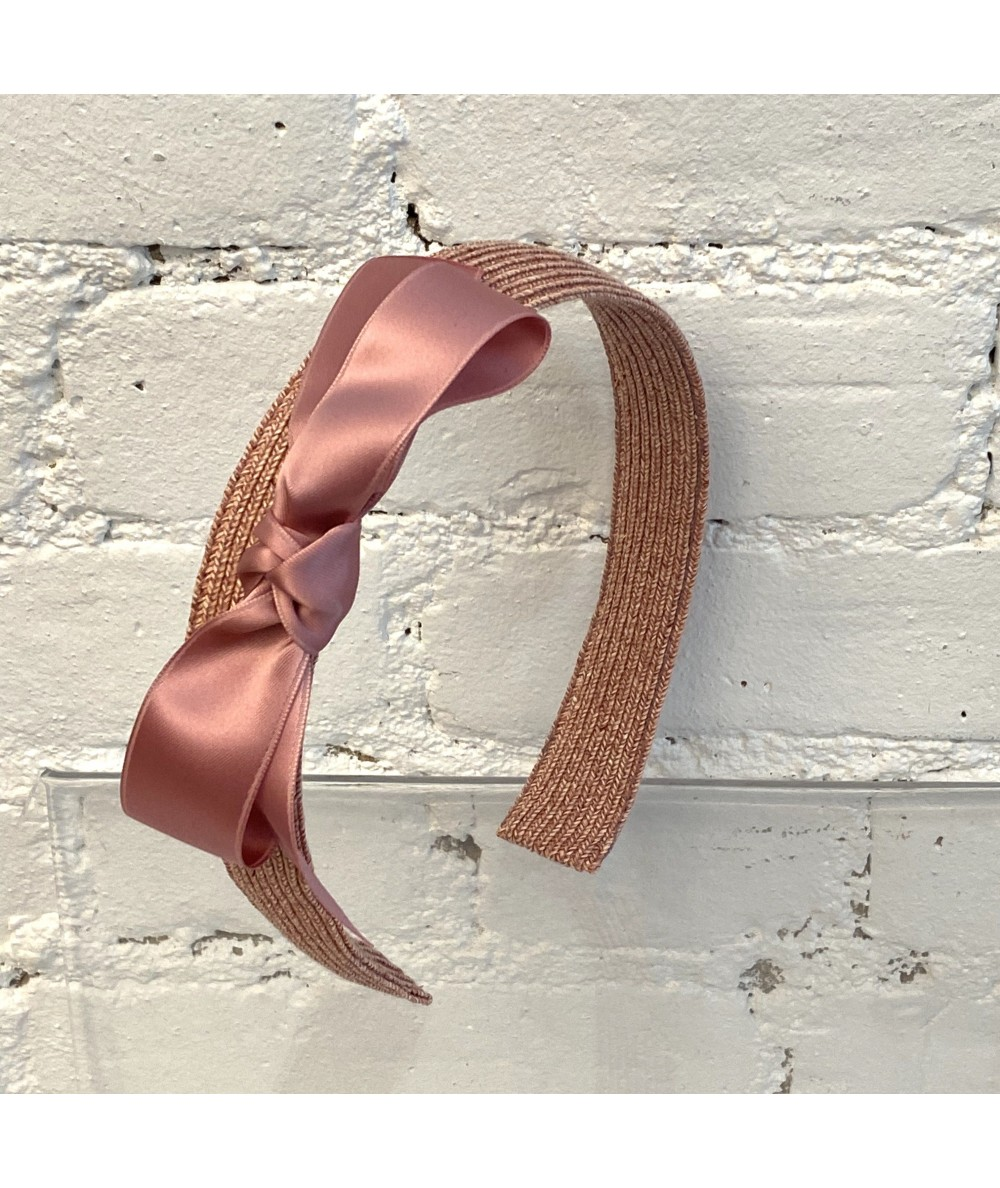 Raspberry Basic Wide Straw Headband Trimmed with Matching Satin Bow