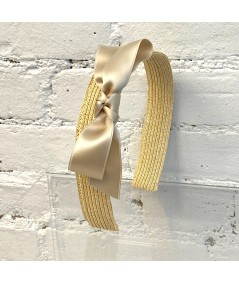 Butter Basic Wide Straw Headband Trimmed with Matching Satin Bow
