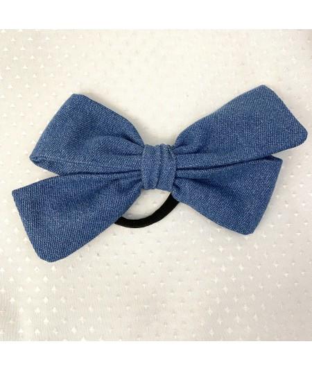 Medium Blue Denim Bow Ponytail Holder
