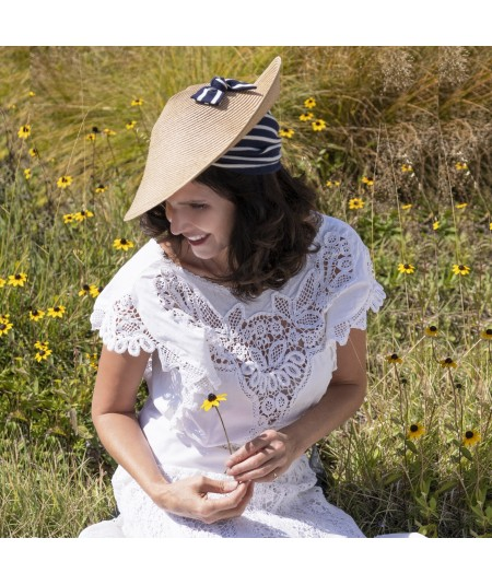 Wheat Straw Collie Hat with Navy/Ivory  Jersey Turban