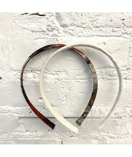 Ivory Linen Skinny Headband - SP108 Silk Print Skinny