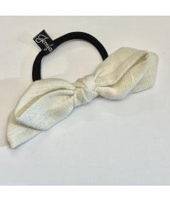 Ivory Linen Bow Ponytail Holder