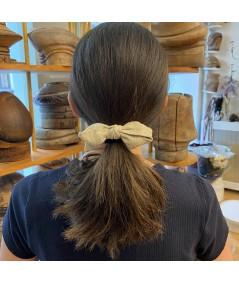 Ivory Linen Linen Bow Ponytail Holder
