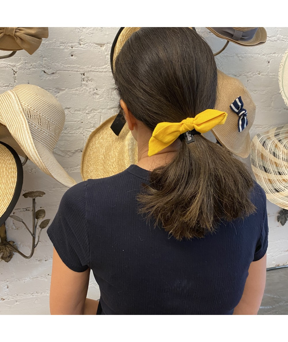Marigold Linen Bow Ponytail Holder