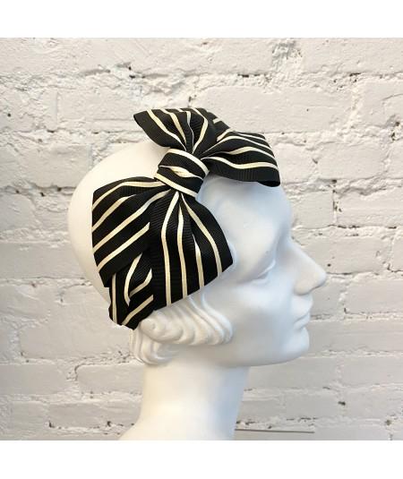 Black with Cream Grosgrain Stripe Carolina Bow Headband