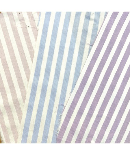 Pink/White - Blue/White - Lavender/White Cotton Stripe