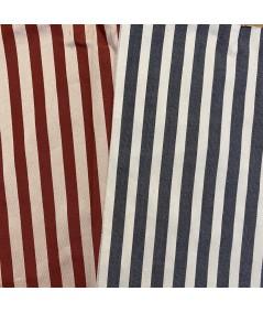 Beige/Burnt - Cream/Charcoal Cotton Stripe