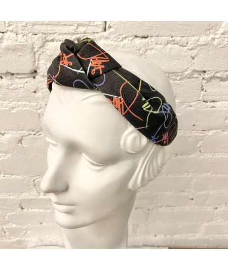 Black Multi JO Signature Turban Headband with Elastic