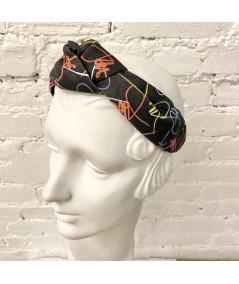 Black Multi JO Signature Turban Headband with Elastic