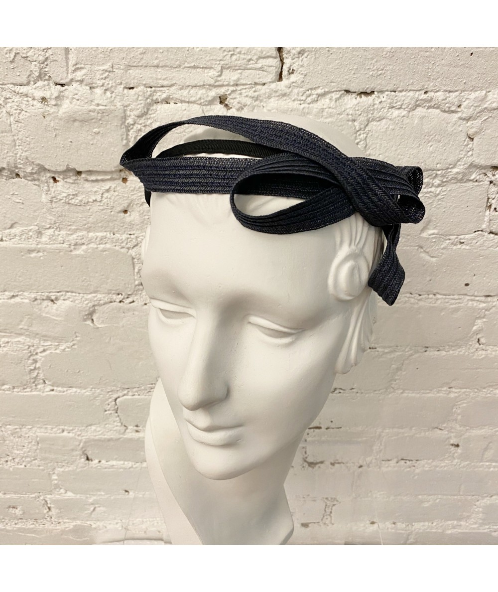 Navy Straw Loop Headpiece