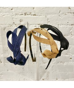 Navy - Wheat - Black Straw Loop Headpiece