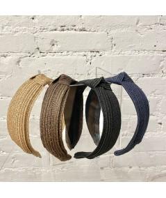 Brown - Navy - Wheat Toyo Straw Center Knot Turban