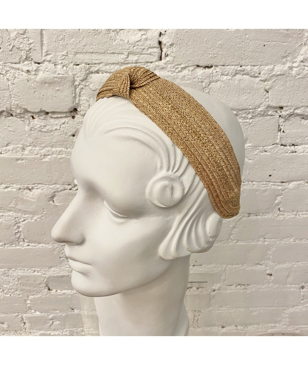 Wheat Toyo Straw Center Knot Turban