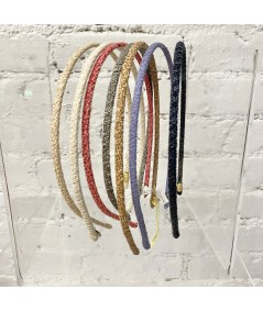 Butter - Natural - Coral - Grey Heather - Wheat - Purple - Navy Skinny Toyo Straw Wrapped Headband